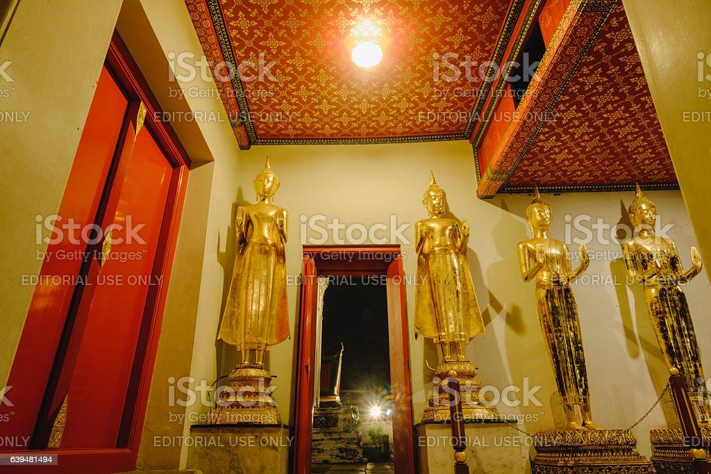 Buddha statue and  thai door art architecture. stock photo