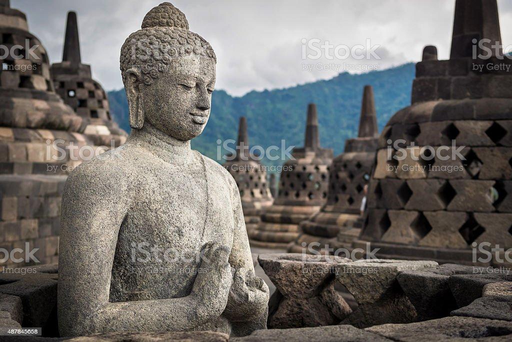 Buddha Statue at Borobudur, Java, Indonesia stock photo
