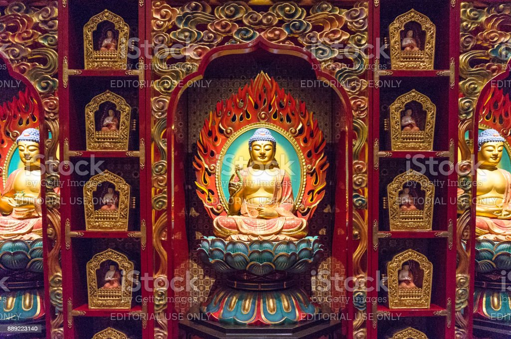 Buddha statue at Buddha Tooth Relic Museum in Singapore stock photo