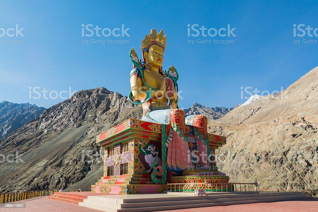 Buddha Statue at Diskit Monastery,Nubra Valley, Ladakh, India. stock photo