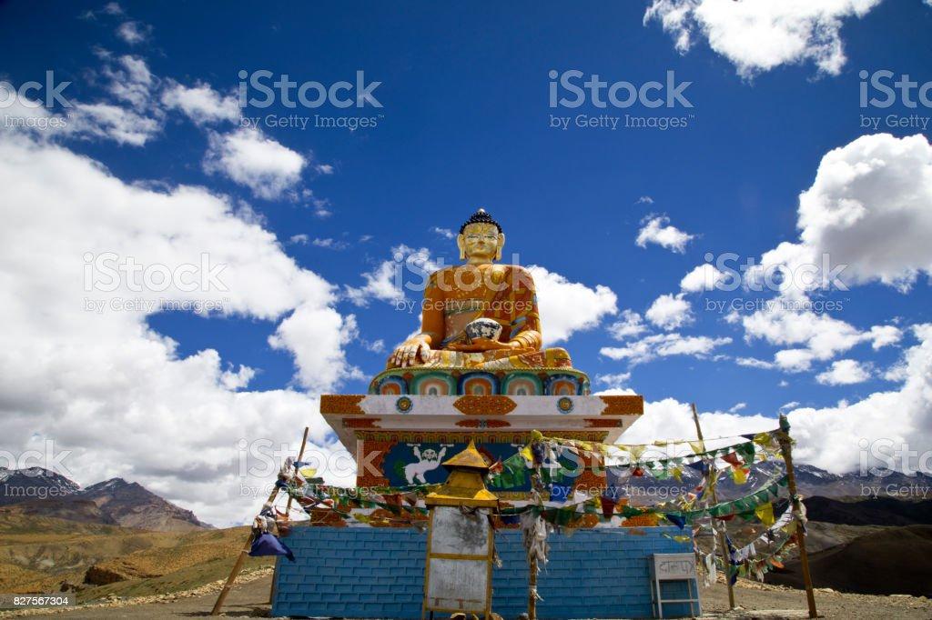 Buddha statue at Himalayas stock photo