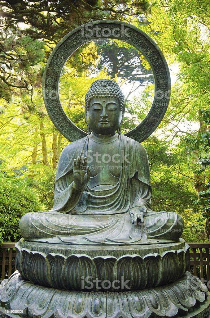 Buddha statue at Japanese Tea Garden in Golden Gate Park stock photo