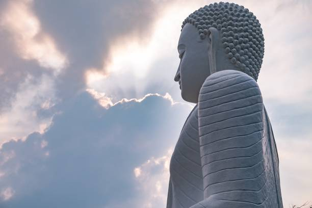 Buddha statue at mihintale stock photo