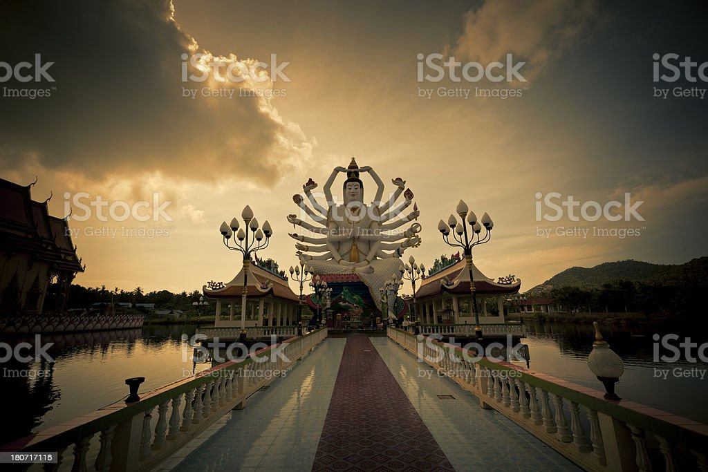 buddha statue at sunset royalty-free stock photo