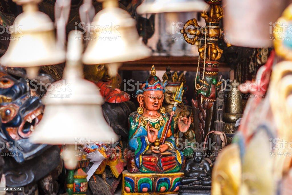 Buddha statue at the Swayambunath Temple, Kathmandu, Nepal stock photo