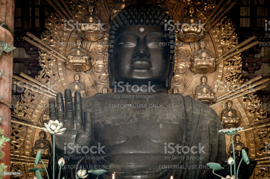 Buddha statue at Todaiji Temple in Japan stock photo