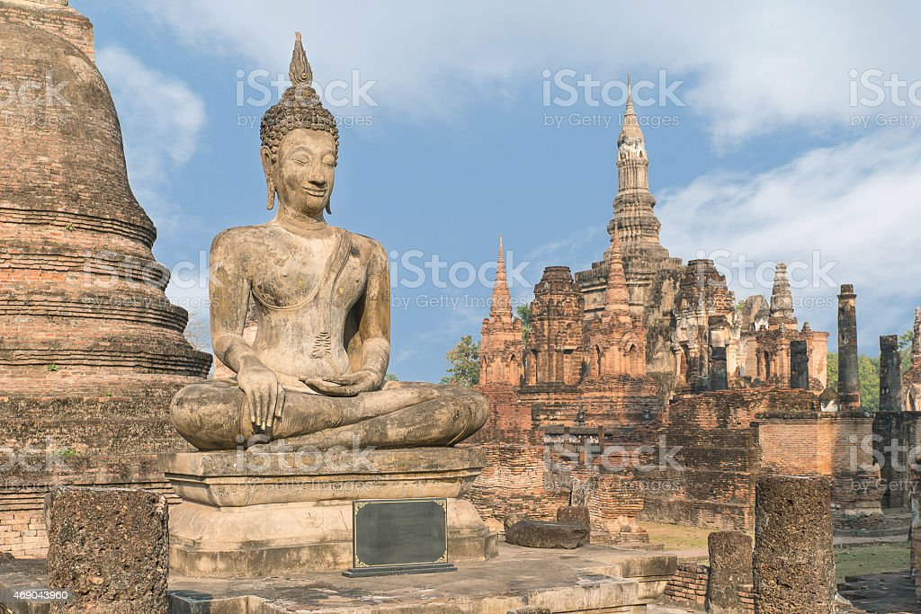 Buddha Statue at Wat Mahathat in Sukhothai Historical Park, Sukh stock photo