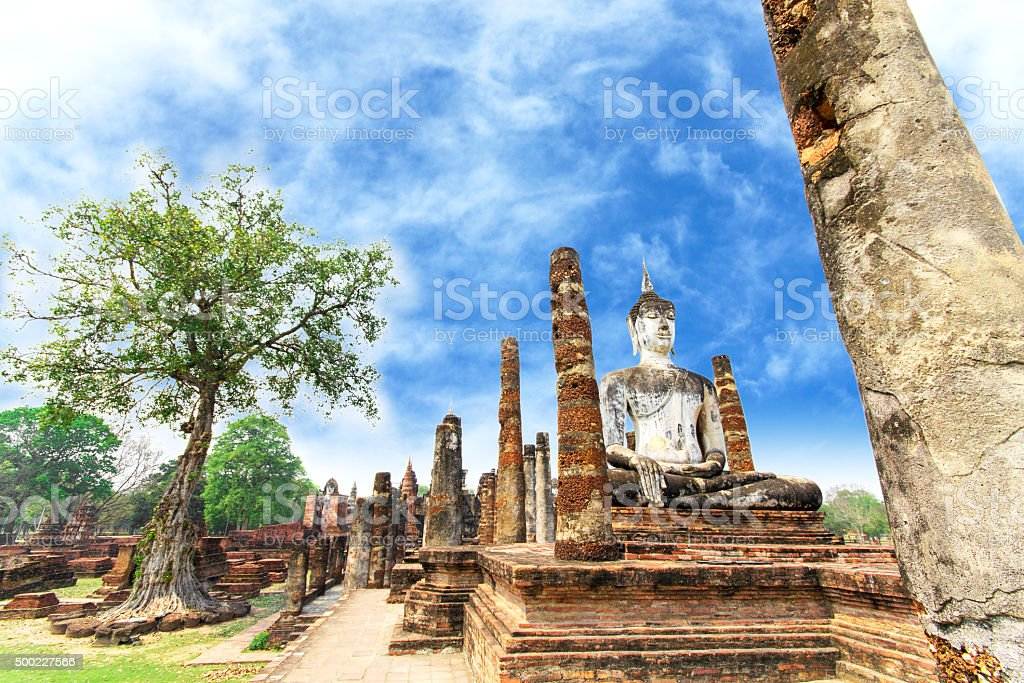 Buddha Statue at Wat Mahathat in Sukhothai Historical stock photo