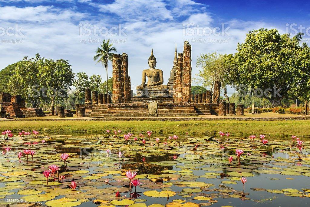 Buddha Statue at Wat Mahathat in Sukhothai stock photo