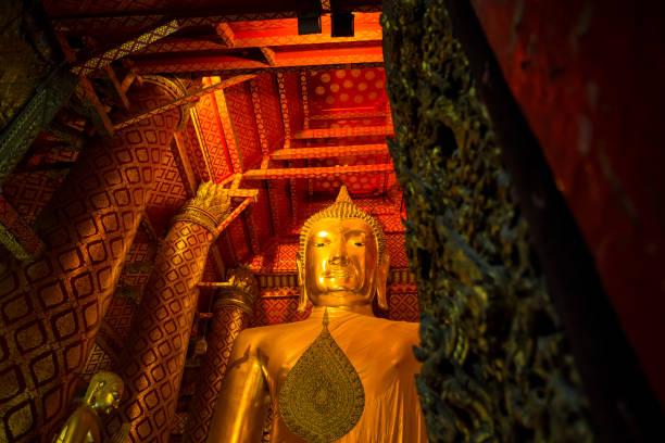 Buddha Statue at Wat Phanan Choeng temple, Ayutthaya, Thailand stock photo