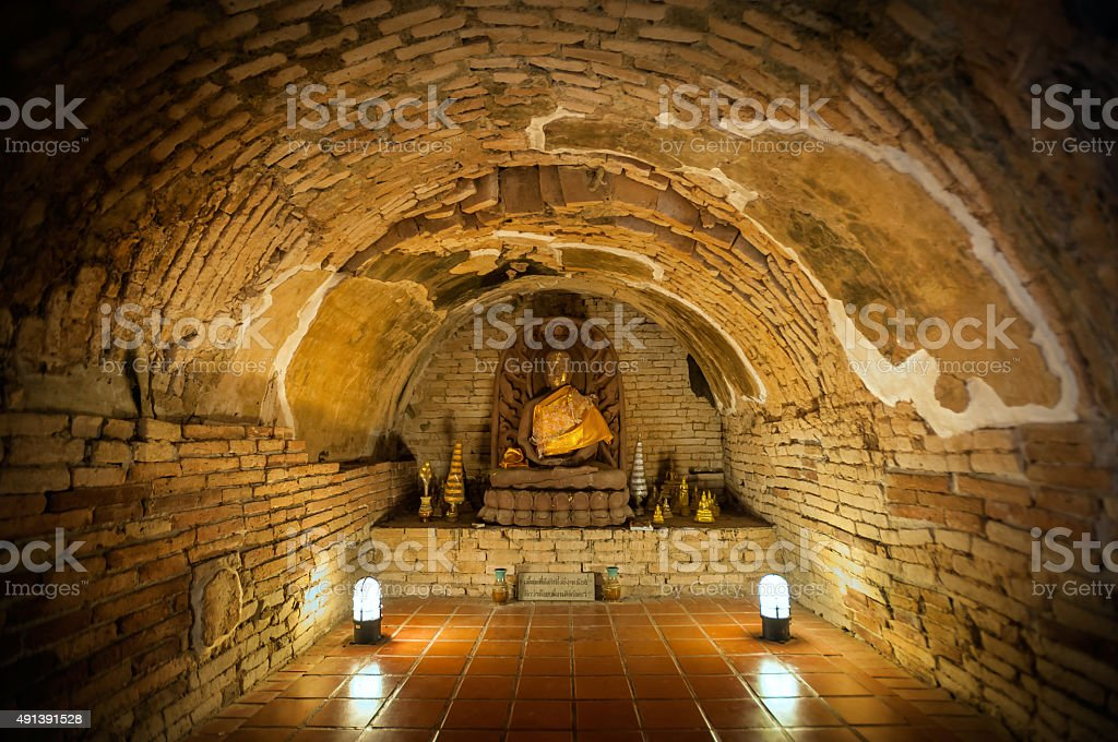 Buddha statue at Wat Umong, Chiang Mai, Thailand stock photo