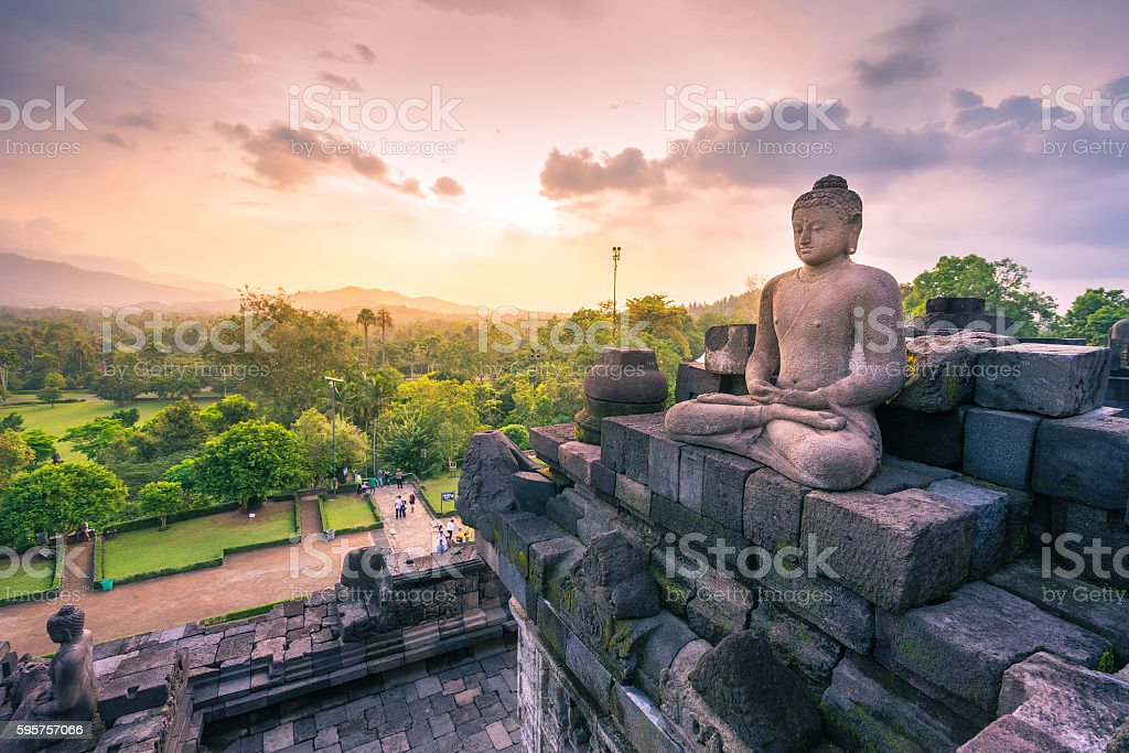 Buddha statue in Borobudur, Buddist Temple in Yogyakarta, Indone stock photo