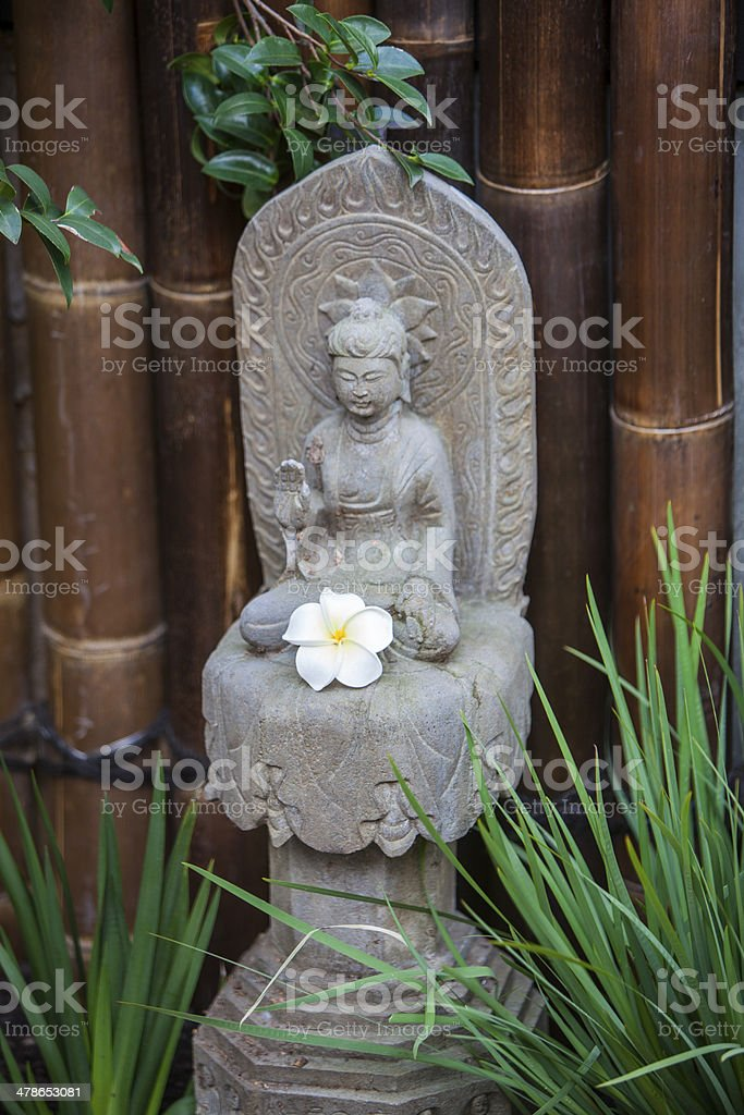 buddha statue in garden with frangipani flower royalty-free stock photo