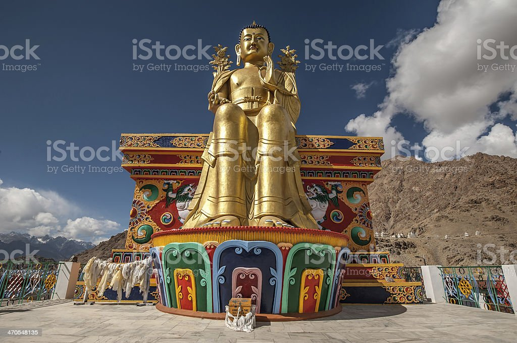 Buddha statue in Likir Gompa stock photo