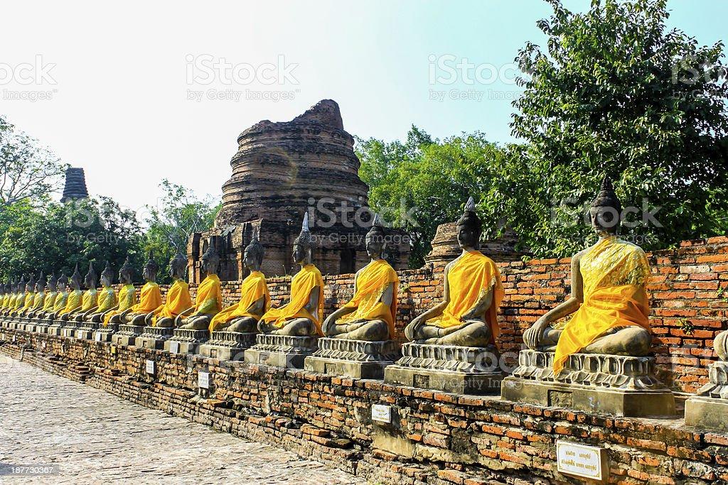 Buddha statue in mongkol temple at ayutthaya Thailand royalty-free stock photo