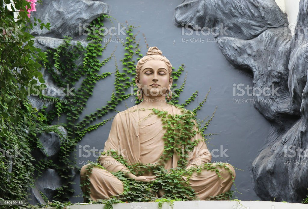 Buddha statue in Rishikesh, India stock photo