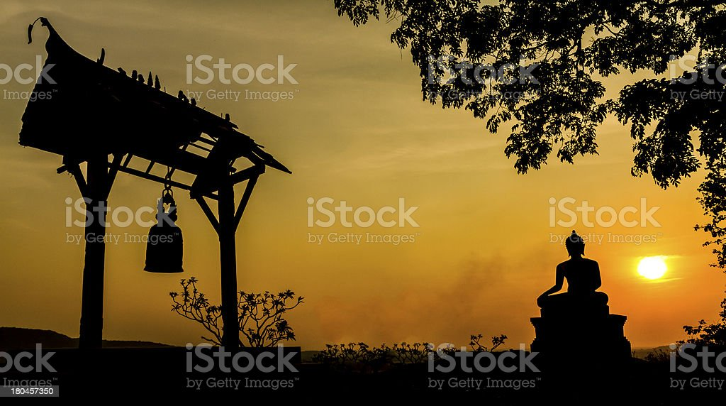 Buddha statue in sunset royalty-free stock photo