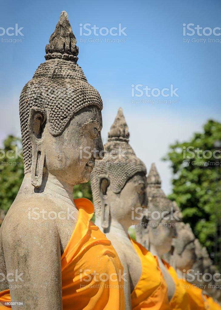 Buddha statue in temple in Ayuttaya, Thailand stock photo