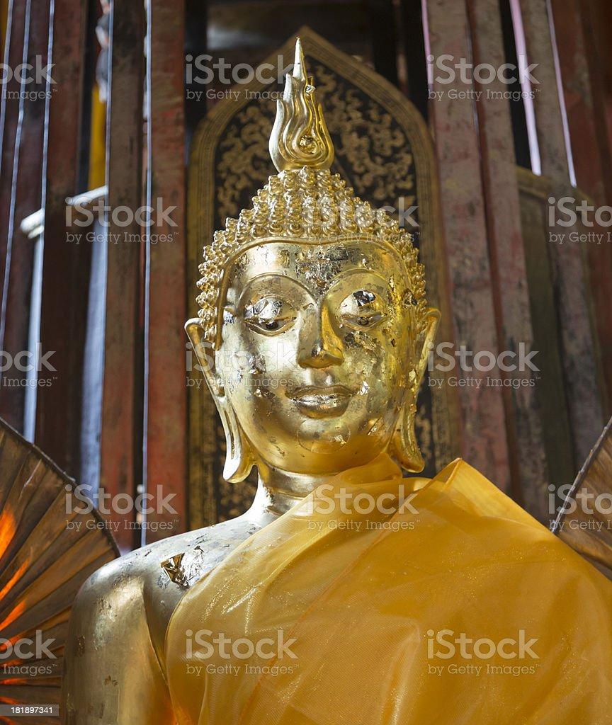 Buddha statue in Wat Phan Tao royalty-free stock photo