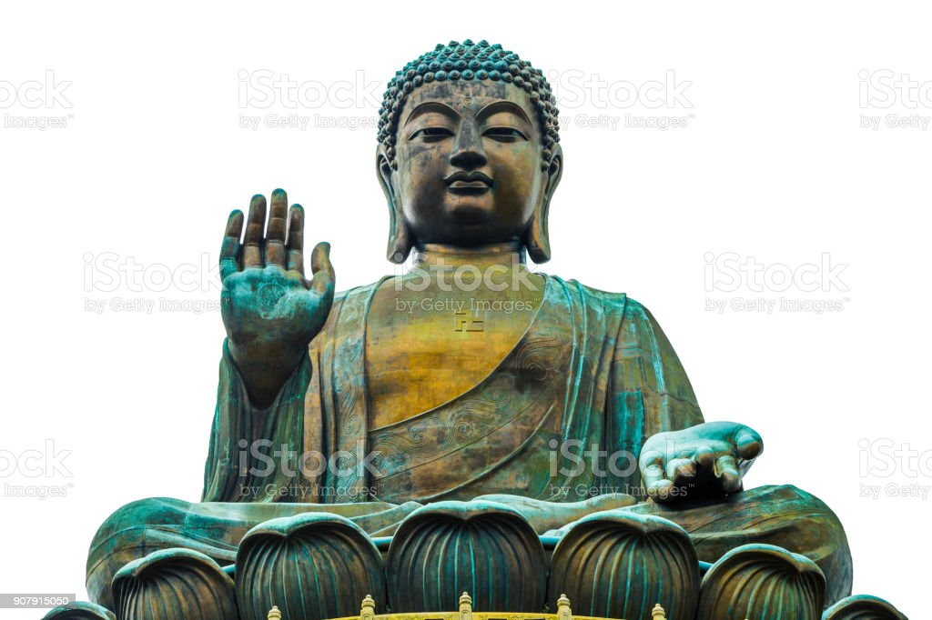 Buddha statue isolated on white background in Po Lin Monastery, Hong Kong stock photo