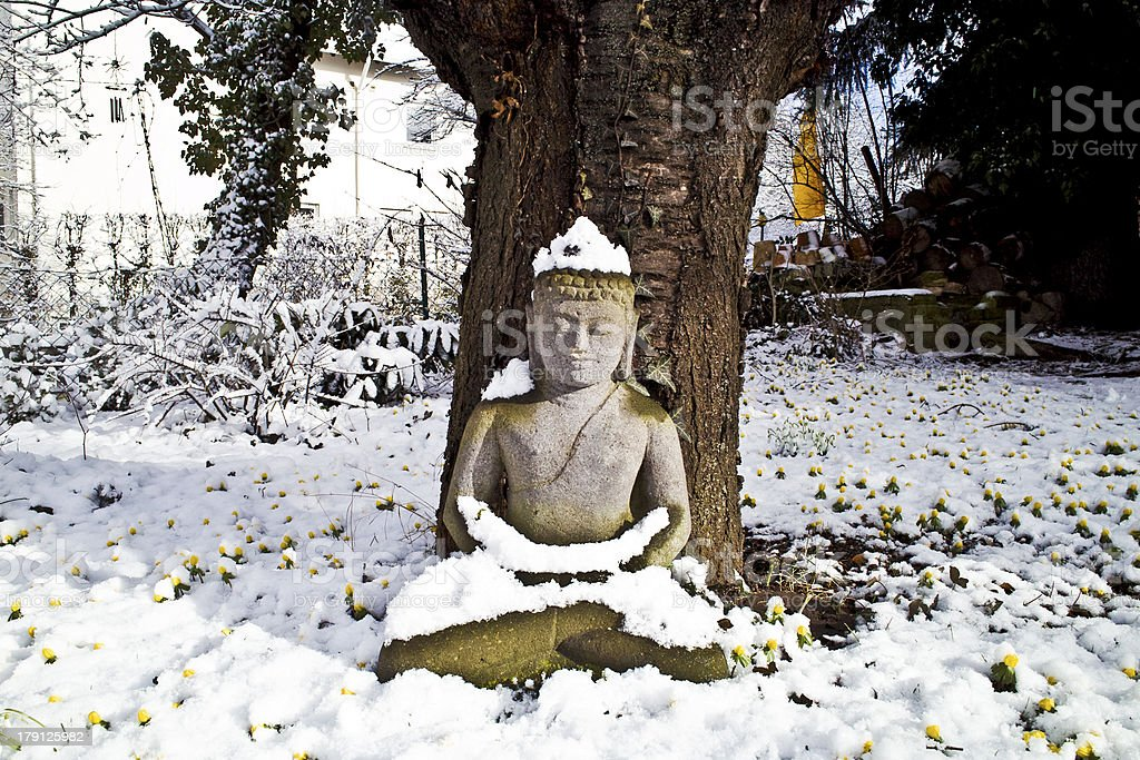 buddha statue meditation in winter royalty-free stock photo