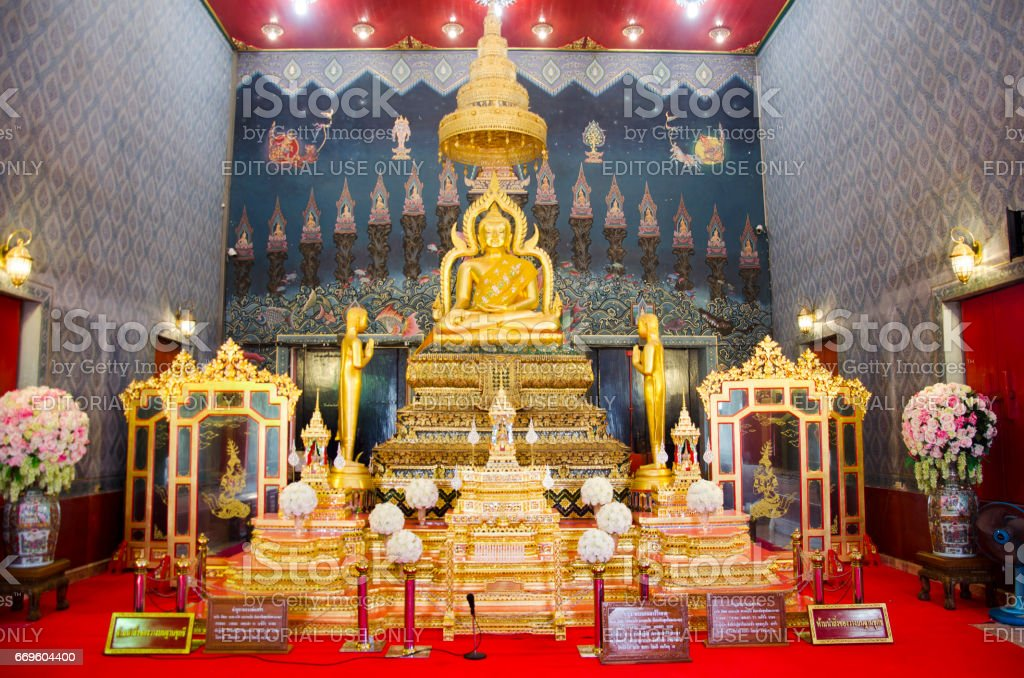 Buddha statue name Luang Pho Phet at Wat Tha Luang stock photo