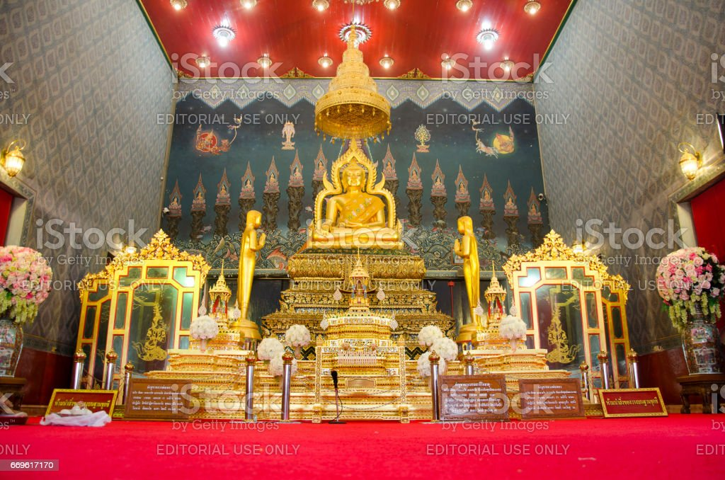 Buddha statue name Luang Pho Phet for people praying stock photo