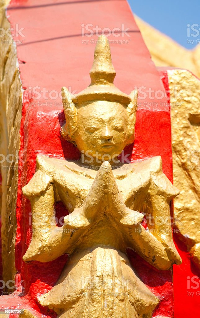 Buddha statue on main door of Kuthodaw Paya royalty-free stock photo