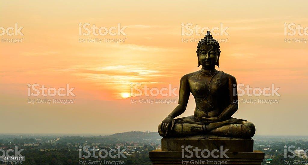 Buddha statue on sunset at Ayutthaya, Thailand stock photo