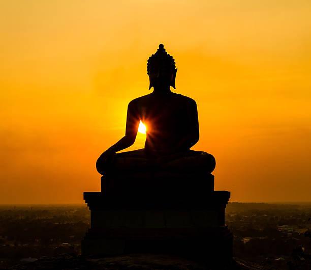 Buddha statue on sunset at Saraburi, Thailand stock photo
