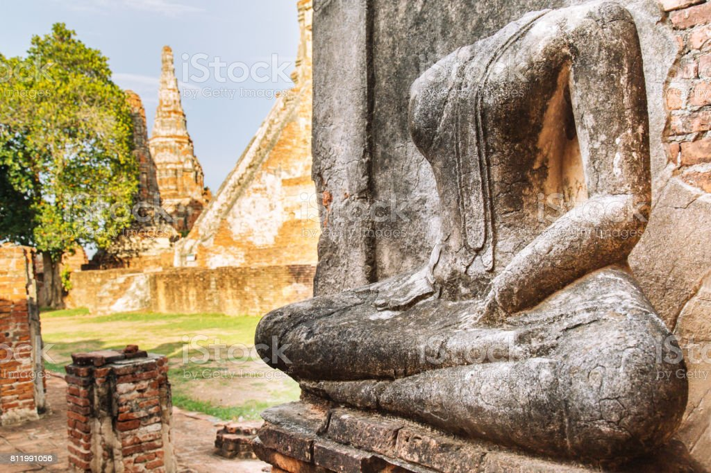 buddha statue, pagoda at Wat Chaiwatthanaram, Ayutthaya Historical Park, Thailand. stock photo