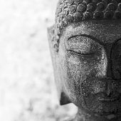 old buddha statue, black and white, square frame