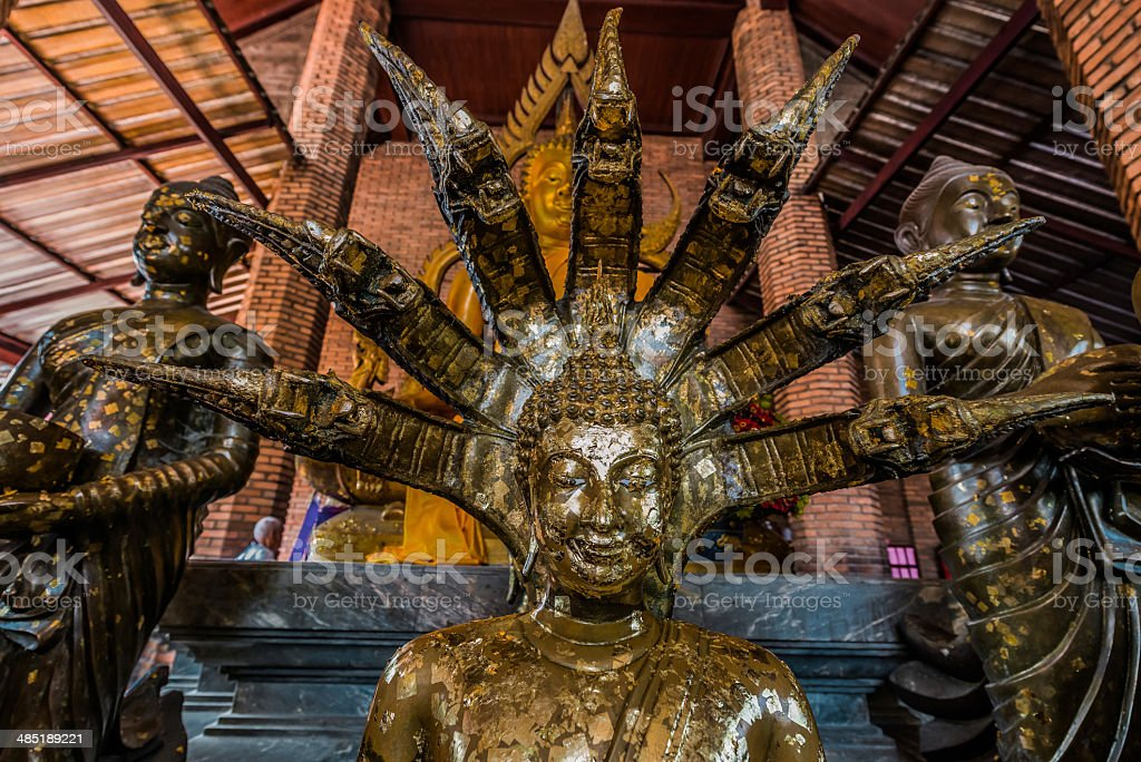 buddha statue portrait Wat Yai Chai Mongkhon Ayutthaya bangkok thailand stock photo