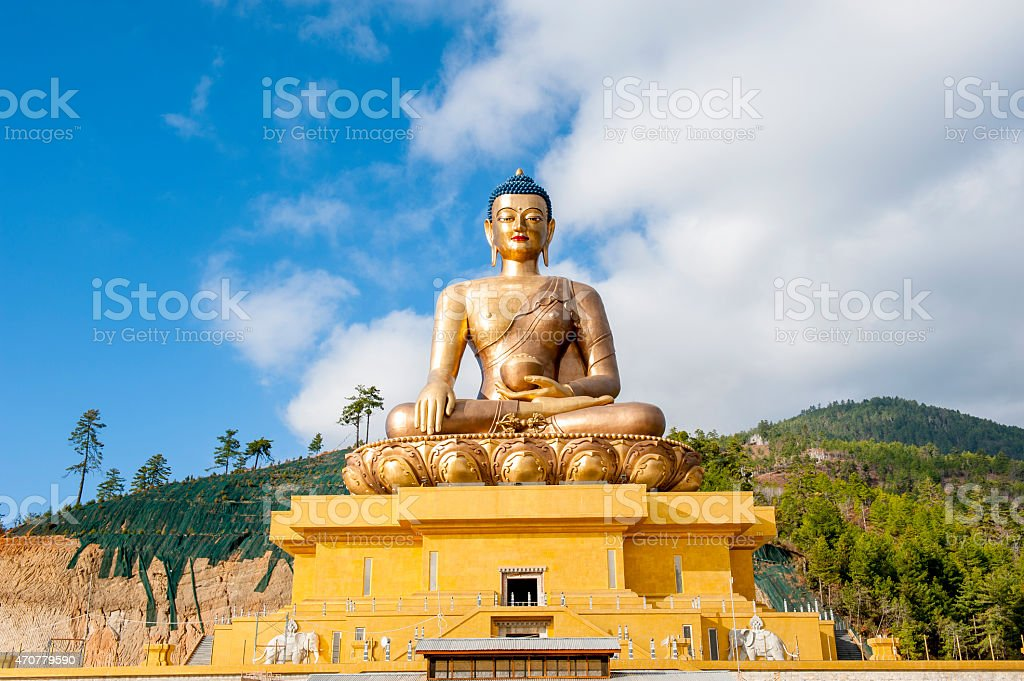 Buddha statue under blue sky, Thimphu, Bhutan stock photo