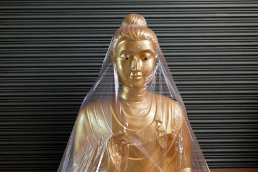 Buddha statue waiting to be sold