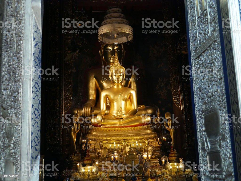 Buddha statue, Wat Bowon Niwet, Bangkok stock photo