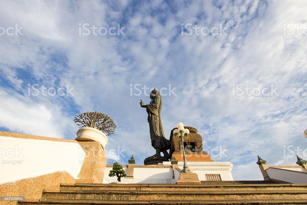 Buddha statue with blue sky at  Phutthamonthon stock photo