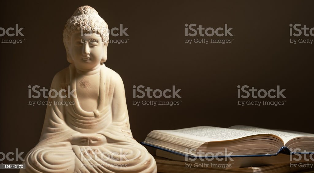 Buddha statue with books. stock photo