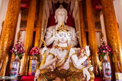 Chiang Rai, Thailand - May 3, 2013: Buddha statue with plural faces at the temple named Wat Khrua Khrae in Chiang Rai, Thailand.