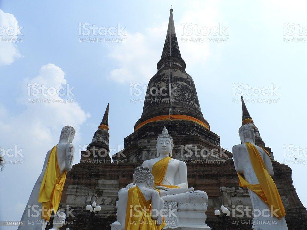 Buddha statues and stupa stock photo