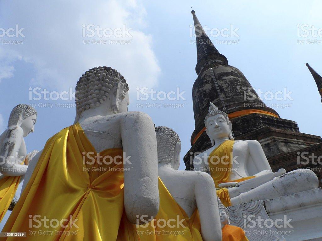 Buddha statues and stupas stock photo