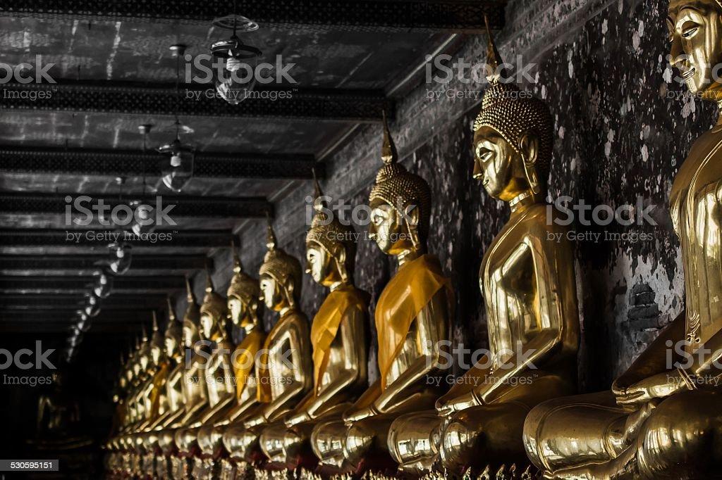Buddha statues at a temple in Bangkok stock photo