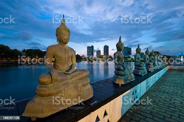 Buddha statues at night
