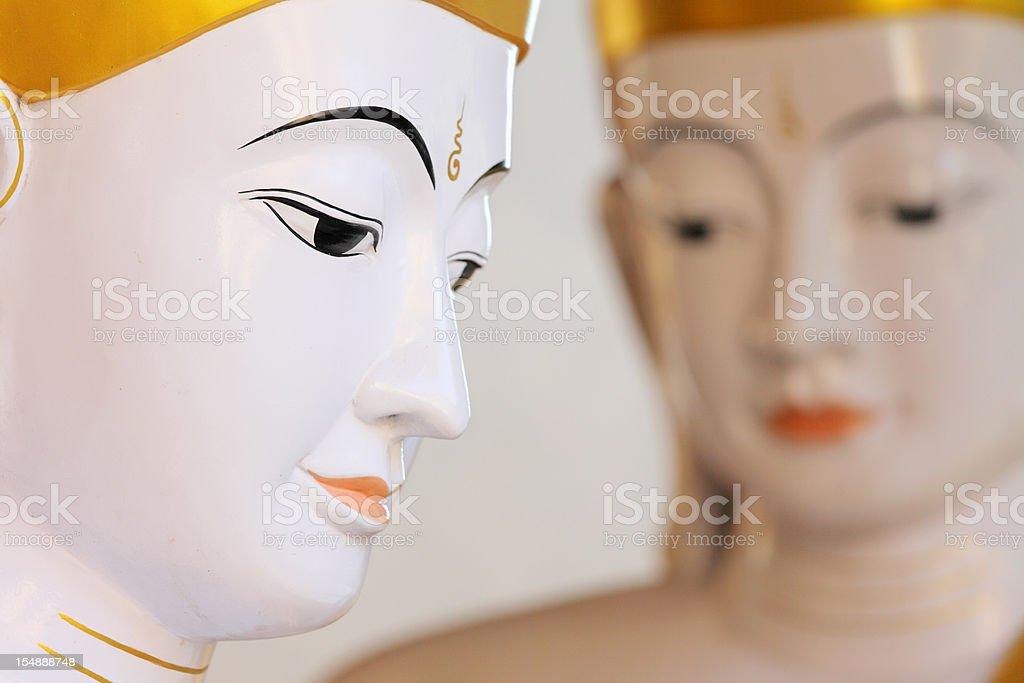 Buddha statues at Schwedagon Pagode royalty-free stock photo
