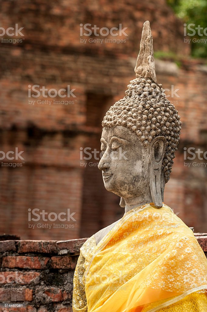 Buddha statues at the temple stock photo