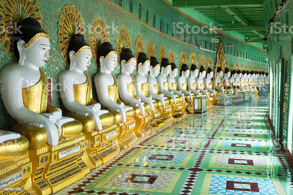 Buddha Statues at U Min Thonze Pagoda, Sagaing, Mandalay, Myanmar stock photo