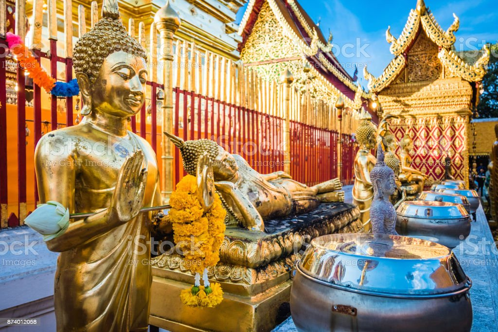 Buddha Statues at Wat Phra That Doi Suthep Temple in Chiang Mai, Thailand stock photo