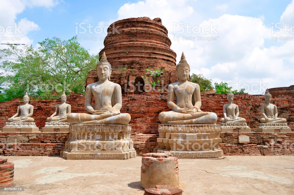 Buddha statues at Wat Yai Chai Mongkhon in Ayutthaya stock photo