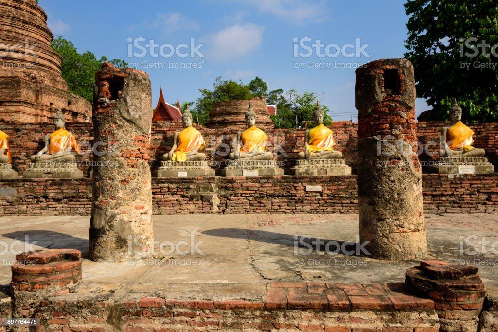Buddha statues at Wat Yai Chai Mongkhon in Ayutthaya stock photo