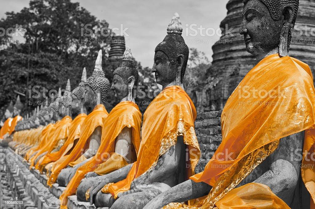 Buddha statues B/W stock photo